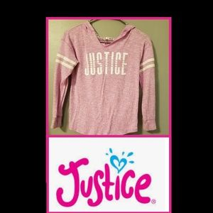 JUSTICE Girls Pink Hoodie Shirt Size 10